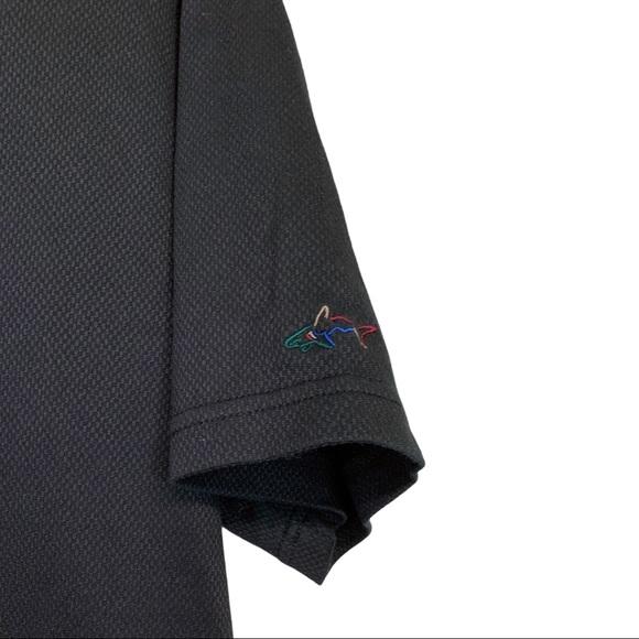 Greg Norman- Black  1/4 Button Down Polo Shirt L